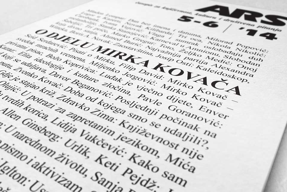 O Mirku Kovaču u novom broju časopisa Ars