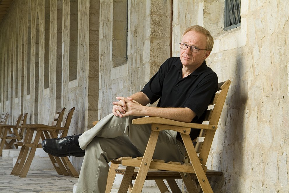 "David Grossman born in Jerusalem on January 25, 1954, is an Israeli author of fiction, nonfiction, and youth and children's literature. His books have been translated into numerous languages. The Yellow Wind, his nonfiction study of the Palestinians in the Israeli-occupied West Bank and Gaza Strip met with acclaim abroad but sparked controversy at home. Grossman studied Philosophy and Theater at Hebrew University. He worked as a correspondent and radio actor for Kol Yisrael, Israel's national broadcasting service. He was one of the presenters of Cat in a Sack, a children's program broadcast from 1970 to 1984. His book Duel was first aired as a radio drama on Kol Yisrael. Together with Dani Eldar, he hosted the slapstick radio program, Stutz (Yiddish: ""that can happen""). In 1984, Grossman won the Prime Minister's Prize for Creative Work. Grossman, an outspoken peace activist, supported Israel during the 2006 Israel-Lebanon conflict. On August 10, 2006, however, he and fellow authors Amos Oz and A.B. Yehoshua held a press conference at which they urged the government to agree to a ceasefire that would create the basis for a negotiated solution. Two days later, his 20-year-old son Uri, a staff sergeant in an armoured unit, was killed by an anti-tank missile during an IDF operation in southern Lebanon shortly before the ceasefire. [1] On February 2, 2007, Grossman was awarded the degree of Doctor Honoris Causa by the Katholieke Universiteit Leuven, Belgium. Grossman lives in Mevasseret Zion on the outskirts of Jerusalem. He is married and the father of three children, Yonatan, 24, Ruth, 14, and the late Uri. Lost his eldest son in the 2nd Lebanon War 07.2006 Taken by Kobi Kalmanovitz for: The EMET PRITZE Catalogue 2007 in Mikenot Shaananim / Jerusalem, on Wednesday 25.07.2007"